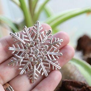 Silver Winter Snowflake Brooch w/ Rhinestones, Pin